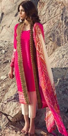 39a0d124d6d8 Front Open Double Shirt Dresses Frocks Designs 2017-2018 Collection Indian  Suits