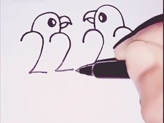 Easy Drawing Love Birds with Numbers can find Simple doodles and more on our website.Easy Drawing Love Birds with Numbers Art Drawings For Kids, Pencil Art Drawings, Drawing For Kids, Easy Drawings, Art Sketches, Art For Kids, Crafts For Kids, Arts And Crafts, Paper Crafts
