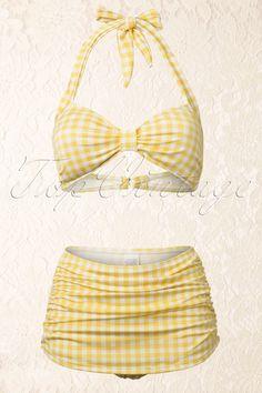 She wore an itsby bitsy yellow gingham bikini! Perfect retro suit for some fun in the sun:: Vintage gingham bathing suit:: Pin Up Swimwear:: Yellow high waisted bikini:: Vintage skirt bikini bottoms