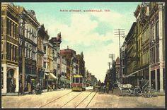 Evnasville Indiana IN 1908 Town Main Street Vintage Postcard
