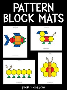 These Pattern Block Mats build problem solving skills. Free printable mats in color and blackline. Over 40 pattern block picture cards. Informations About Pattern Block Mats Pin You can easily use my Free Preschool, Preschool Learning, In Kindergarten, Preschool Activities, Teaching Art, Preschool Programs, Preschool Colors, Teaching Colors, Pattern Block Templates