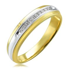 Montebello Men's 14k Gold 1/4ct TDW Princess-cut White Diamond Wedding Band