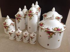 undefined Vintage Dishware, Vintage Plates, Vintage China, Canister Sets, Canisters, Royal Albert, French Kitchen Decor, Country Rose, Hand Painted Plates