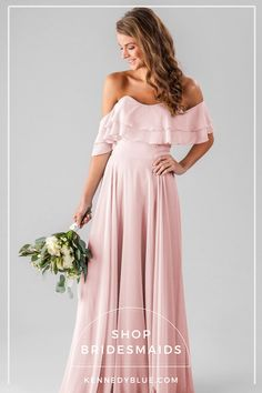 Style your girls in a chiffon bridesmaid dress that features off-the-shoulder straps for a boho look. Available in colors, shop Kennedy Blue Allison today! Strapless Dress Formal, Formal Dresses, Wedding Dresses, Wedding Attire, Wedding Entourage, Modest Wedding, Trendy Wedding, Elegant Wedding, Summer Wedding