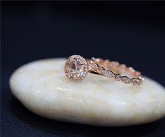 Simple Engagement Ring Set Handmade Bridal Ring Set Round Morganite Ring Set…