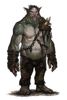 ogro.... son enormes humanoides de aspecto tosco y desagradable, mal carácter y muy guerrilleros.