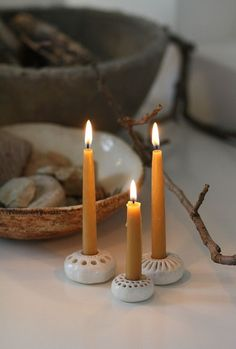 Beeswax tapers in ceramic bases | Natural candlelight