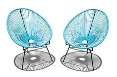 nice Midcentury Modern Harmonia Living 2 Piece Acapulco Lounge Chair Set, Small, Glacier Blue