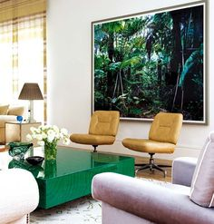 love the colors & pieces...malacate table, oversize tropical pic. love