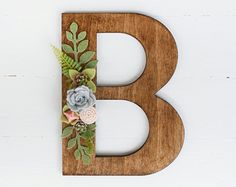 Wood Letter with Felt Succulents - YOU PICK LETTER