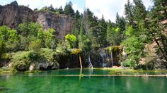 Hanging Lake, Colorado Located in Glenwood Canyon, in Colorado, Hanging Lake is a rare example of a lake formed by travertine deposition where the natural geologic and hydro-logic processes continue to operate as they have done throughout the history of the lake. It is known for its thriving hanging garden plant community. (Flickr/Sayamindu Dasgupta)