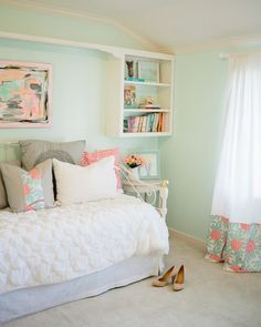 Mint Bedroom Inspiration. I like the idea of adding patterns in the window covering and pillows