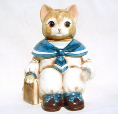Vintage Wilbur the Sailor Cat Cookie Jar Made by claudettesvintage