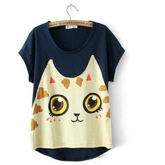 Short-Sleeve Cat-Print Panel T-Shirt ($21) ❤ liked on Polyvore featuring tops, t-shirts, shirts, tees, short sleeve shirts, blue short sleeve shirt, cat print top, short sleeve tees and jvl