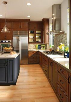 Cherry cabinets, maple floor w/ pink/orange undertones for contrast