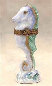 Limoges Blue Seahorse Box The Cottage Shop