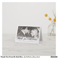 Thank You From Mr And Mrs Photo Wedding Thank You Note Card by fatfatin Thank You Note Cards, Personalized Note Cards, Folded Cards, Wedding Thank You, Photo Cards, Paper Texture, Smudging, Stationery, Thankful