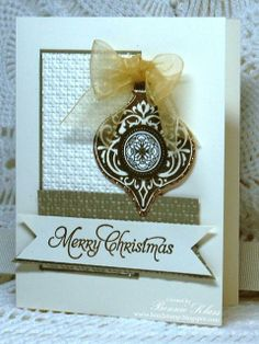 by Bonnie, Stamping with Klass **** Card Recipe:   Stamps:  Ornament Keepsakes, More Merry Messages  Ink:  Gold (Encore)  Paper:  Very Vanilla, Brushed Gold, Champagne Glimmer  Other:  Gold Embossing Powder, Holiday Ornaments Framelits, Square Lattice EF, Organdy Ribbon (? from my stash)