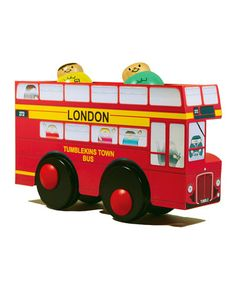 """Tumblekins London Bus by Tumblekins on #zulilyUK today! These tourists are so overwhelmed by the sites London has to offer they're doing roly-polys on the top-deck! A classic wooden toy with a twist, this roll-along isn't all it seems. This unique tumbling toy is based on a clever, innovative design, which allows the characters to """"roll along"""" and tumble inside the bus when pushed along by your littl'un. Hours of play and giggles guaranteed!"""