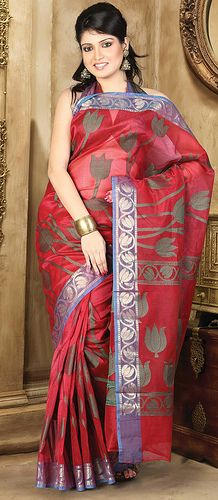 Red Cotton saree