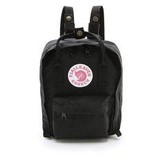 Fjallraven Kanken Mini Backpack (£45) ❤ liked on Polyvore featuring bags, backpacks, accessories, fillers, black, zipper bag, fjallraven rucksack, knapsack bag, day pack backpack and detachable backpack