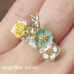 angelica オリジナルリング。フラワーガーデンシリーズ指輪 お花とウサギのリング Kobe, Salons, Earrings, Accessories, Jewelry, Ear Rings, Lounges, Stud Earrings, Jewlery