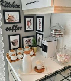 Coffee Bar at home - Ideas for a coffee shop at home Coffee . - Coffee Bar at home – Ideas for a coffee shop at home Coffee Bar at home – Ideas for a coffee shop at home Coffee Bars In Kitchen, Coffee Bar Home, Coffee Corner, Coffee Shop, Coffee Bar Station, Home Coffee Stations, Cafe Bar, Bars For Home, Interior Design Living Room