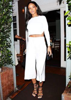 Rihanna rocked an all-white ensemble on Friday while out to dinner at Giorgio Baldi Italian restaurant in Santa Monica, California