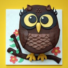 Owl CakeFondant Owl Cake Topper Owl Cake birthday party girl boys kids kid chil…