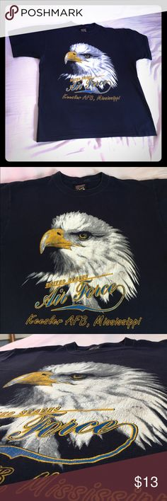 Mississippi Kessler Air Force Base A+ beautiful🛩 Lovely Mississippi AFB. An old tee in great condition. Large & beautiful in every way . Great front logo of an Eagle Vintage Tops Tees - Short Sleeve