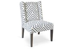 Campbell Dining Chair, Ivory/Navy on OneKingsLane.com