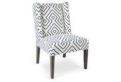 Campbell Dining Chair, Ivory/Navy on OneKingsLane.com