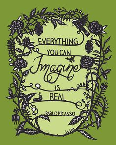 Everything You Can Imagine - 8x10 Original Papercut Print - Inspirational Quote - GREEN via SarahTrumbauer on Etsy.