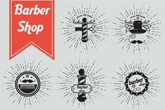 Barber shop retro logos by Just Shop on Creative Market
