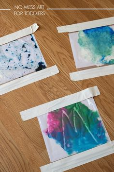 No mess art for toddlers! Just put paint in zip lock bags, genius!