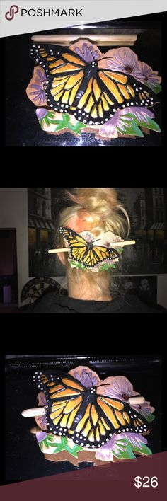 Butterfly hair pin! Leather and hand made :) Beautiful hand carved leather butterfly hair pin 🦋 this hair pin is treated so it will last forever and look good doing it! Please let me know if you have any questions, and no low ball offers!!! Thanks and happy poshing :) Accessories Hair Accessories