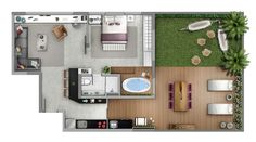 Neorama - floor plan - MaxHaux / Porto Alegre - Corali Soto - In Summer You To Do Small House Plans, House Floor Plans, Small Apartments, Small Spaces, Casas The Sims Freeplay, Bungalow, Industrial House, Architecture Plan, House Layouts