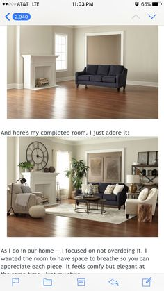 Navy Couch With Nailhead Trim Gold Lamp Coffee Tables Wall Color Is Sherwin Williams Agreeable Gray From Thrifty Decor Chick Post On Love It All