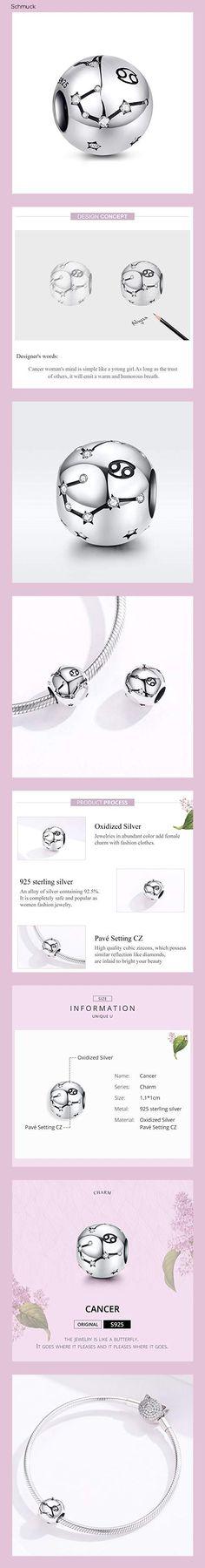 LaMenars Damen 12 Konstellationen Sternzeichen Stern Bead Charms 925 Sterling Silber Anhänger für Pandora, Chamilia & European Charm Armbänder & Halsketten (der Krebs: 6.22.-7.22) - 14hd