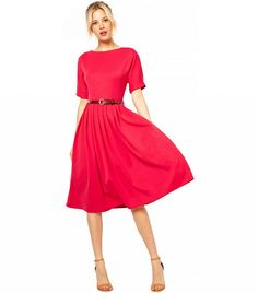 Midi Dress with Full Skirt and Belt in Pink