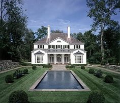 symmetry, windows, chimneys ~ Home of Nancy Marcantonio in Southport, CT - Fairfax and Sammons Architects