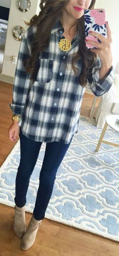 Plaid Shirt Outfit Idea by Southern Curls and pearls