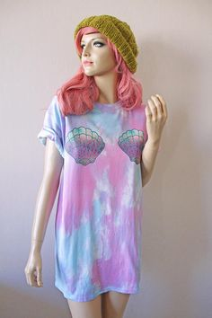 Seashell Mermaid Pastel Tie Dye T-Shirt hipster tumblr cute