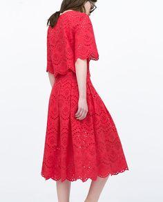 ZARA - 今週の新商品 - パンチング加工・刺繍入りロングスカート