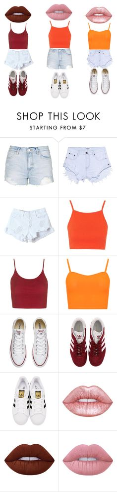 """""""Three Is Better Then One"""" by sammy-pinckney ❤ liked on Polyvore featuring Topshop, OneTeaspoon, WithChic, WearAll, Converse, adidas, adidas Originals and Lime Crime"""