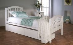 CHILDS BED - Despina Single White Wooden Bed (without Drawers) Only £149.99 | Furniture Choice