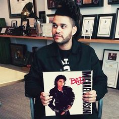 """The Weeknd with MJ album. #TheWeeknd #MichaelJackson #Abel #MJ - """"These kids, you know, they don't have a Michael Jackson. They don't have a Prince. They don't have a Whitney."""" - The Weeknd, NY Times 2015"""