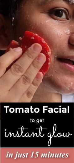 Try This 15 Minute Tomato Facial At Home. After This You Will Never Waste 1 Hour For Salon Facial #skincare #skin #selfcare #selfcaretips #selfcarebeautytips #beautyhacks #clearskin #glowingskin #facialathome #tomato #diyfacial