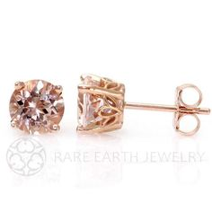 Morganite Earrings Rose Gold Morganite Stud Earrings by RareEarth, $249.00
