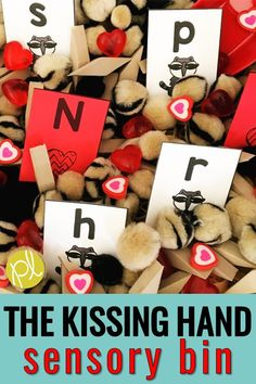 This is a hands-on activity based on the sweet story The Kissing Hand by Audrey Penn. This center is perfect for the first month of school or anytime you want to share the classic read aloud with your kindergarten or first grade students. There are literacy and math task cards to add to the sensory bin, plus character cards and sorting mats! #audreypenn #kissinghand